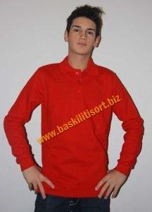 polo yaka sweatshirt Kırmızı
