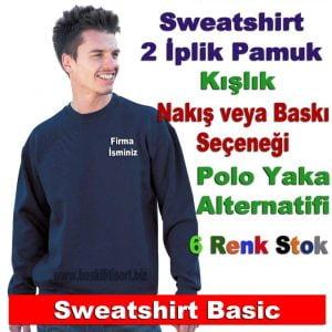 Logolu Sweatshirt Baskı ve Nakışlı